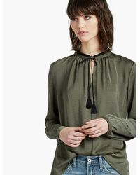 Lucky Brand - Green Fringe Neck Blouse - Lyst