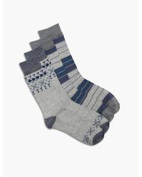Lucky Brand - Blue 2 Pack Aztec Colorblock Socks for Men - Lyst
