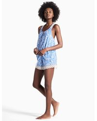 Lucky Brand - Blue Lace Trim Soft Knit Pajama Set - Lyst