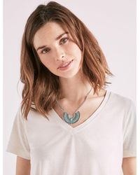Lucky Brand - Metallic Turquoise Crescent Necklace - Lyst