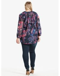 Lucky Brand - Blue Plus Size Tassle Floral Blouse - Lyst