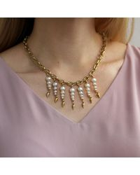 Lulu Frost - Metallic Pearl Line Necklace - Lyst