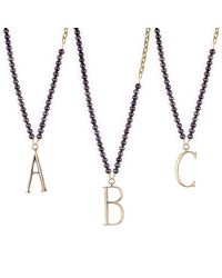 Lulu Frost | Plaza Letter Necklace - Black Pearl Chain | Lyst