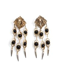 Lulu Frost - White *vintage* Long Black And Gold Clip-on Earrings - Lyst
