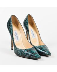 "Jimmy Choo - ""emerald"" Green & Black Elaphe Snakeskin ""anouk"" Pumps - Lyst"