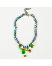 Missoni - Blue Multi Knit Silver Tone Metal Bead Chain Link Necklace - Lyst