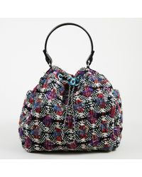 Chanel - Blue Multicolor Quilted Tweed & Leather Trimmed Bucket Bag - Lyst