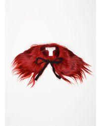 Marni - Red Goat Fur Ribbon Tie Stole - Lyst