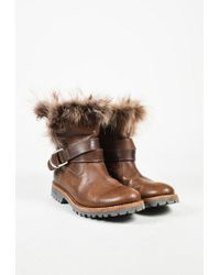 Brunello Cucinelli - Brown Leather Fur Lined Ankle Boots - Lyst