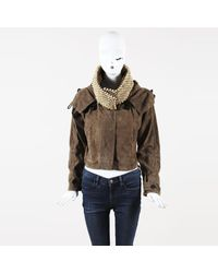 Burberry Prorsum - Brown Lambskin Suede Beaded Hooded Jacket - Lyst