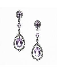 Unbranded - Purple Nwot Amethyst & White Topaz Kinetic Teardrop Earrings - Lyst