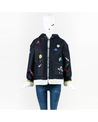 """MIRA MIKATI - Blue Multicolor Denim Hand-painted """"play More"""" Jacket - Lyst"""