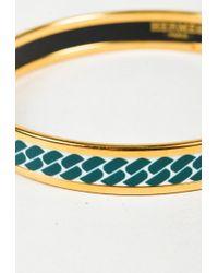 Hermès - Multicolor Blue & White Enamel Gold Plated Printed Narrow Bangle Bracelet - Lyst