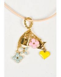 """Louis Vuitton - Metallic Pink Leather Gold Plated Metal """"sweet Monogram Pendant"""" Necklace - Lyst"""