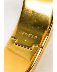 "Hermès - Metallic Brown Gold Plated Metal ""clic Clac H Wide Pm"" Bracelet - Lyst"