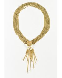 Chanel - Metallic Gold Tone Metal Crystals & Faux Pearls Chain Link Necklace - Lyst