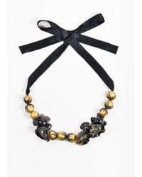 Marni - Black And Metallic Gold Toned Horn, Pyrite, And Resin Beaded Statement Tie Necklace - Lyst