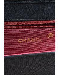 Chanel - Vintage Black Gold Chain Link Front Flap Half Moon Shoulder Bag - Lyst