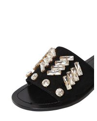 Venti 12 - Black 10mm Embellished Suede Slide Sandals - Lyst