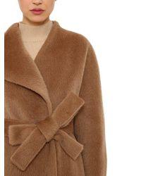 Delpozo - Brown Brushed Alpaca & Wool Long Coat - Lyst