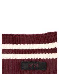N°21 - Red Striped Wool Knit Collar W/ Logo Tag - Lyst