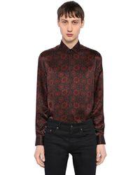 Saint Laurent - Multicolor Floral Printed Silk Satin Shirt for Men - Lyst
