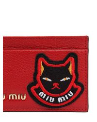 Miu Miu - Red Cat Patch Leather Card Holder - Lyst