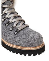 Le Silla - Gray 30mm Felt & Fox Fur Trekking Boots - Lyst