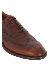 Rolando Sturlini - Brown Washed Leather Brogue Oxford Shoes for Men - Lyst