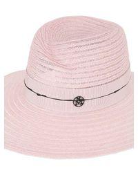 Maison Michel - Pink Virginie Colored Hemp Straw Hat - Lyst