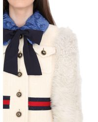 Gucci | White Wool Coat W/ Brushed Wool Sleeves | Lyst