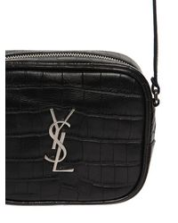 Saint Laurent - Black Monogram Blogger Croc Embossed Bag - Lyst