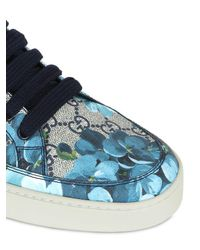Gucci - Brown Floral Printed Gg Supreme Sneakers - Lyst