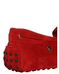 Tod's - Red 22 Gommino 122 Tie Suede Driving Shoes for Men - Lyst