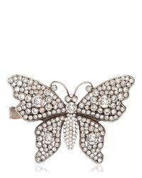 Gucci - Metallic Crystal Butterfly Hand Bracelet - Lyst
