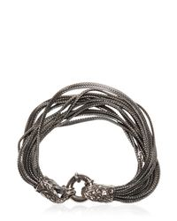 Emanuele Bicocchi - Metallic Multi Chain Bracelet With Skull Detail - Lyst