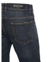 Balmain - Blue 17cm Biker Washed Cotton Denim Jeans for Men - Lyst