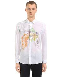 Etro - White Hemd Aus Baumwollmusselin Mit Nieten Und Druck for Men - Lyst