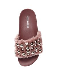 Steve Madden - Pink 20mm Yeah Studded Faux Fur Slide Sandals - Lyst