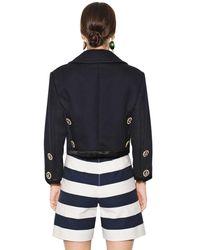 Dolce & Gabbana - Blue Swarovski Buttons Cotton Piqué Jacket - Lyst