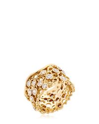 Aurelie Bidermann - Metallic Dentelle Gold Ring With Diamonds - Lyst