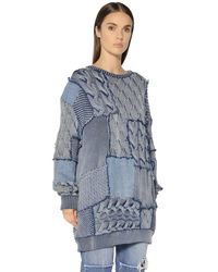 Stella McCartney - Blue Patchwork Cotton Knit & Denim Sweater - Lyst