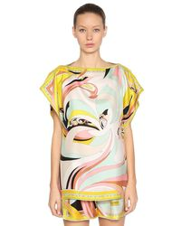 Emilio Pucci - Yellow Scarf Printed Silk Twill Top - Lyst