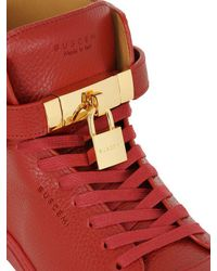 Buscemi - Red High Top Leather Sneakers - Lyst