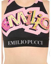 Emilio Pucci - Black Printed Lycra Bra Top W/ Logo Detail - Lyst