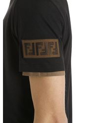 Fendi - Black Ff Patch Double Layer Jersey T-shirt for Men - Lyst