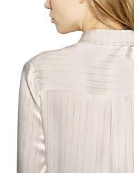 Each x Other - White Pinstriped Silk Satin Shirt Dress - Lyst