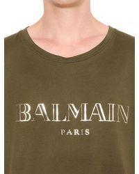 Balmain - Green T-shirt In Jersey Di Cotone Con Logo for Men - Lyst