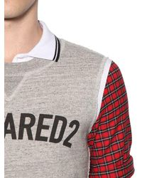 DSquared² - Gray Pique Polo W/ Jersey & Plaid Details for Men - Lyst