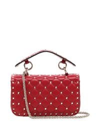 Valentino - Red Small Spike Leather Shoulder Bag - Lyst